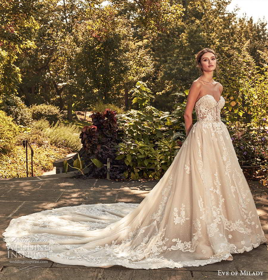 eve of milady spring 2020 bridal strapless sweetheart neckline fully embellished lace a line ball gown wedding dress chapel train (2) mv