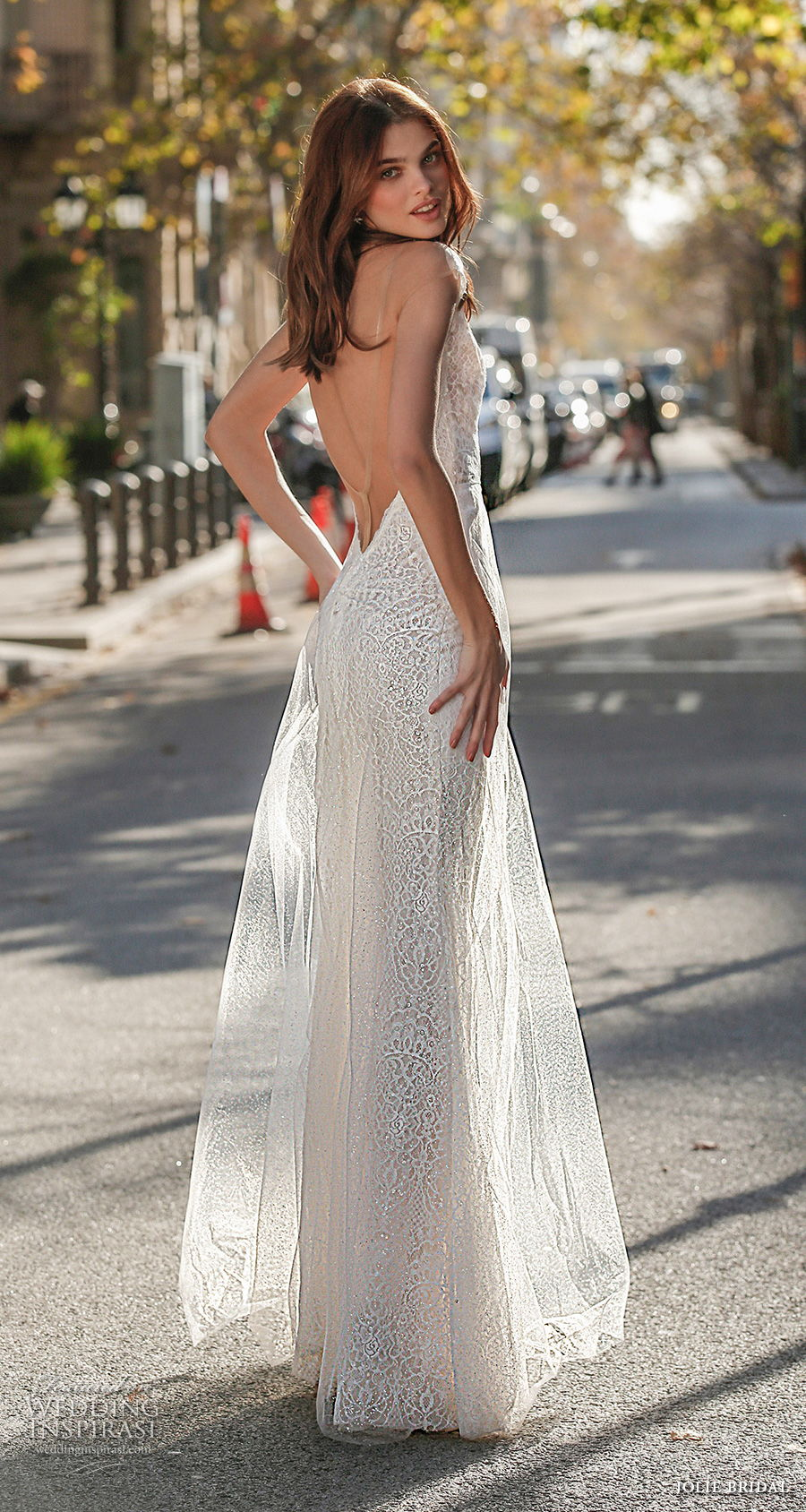 jolie spring 2021 bridal cap sleeves deep plunging v neck full embellishment sexy romantic modified a  line wedding dress open low back sweep train (4) bv