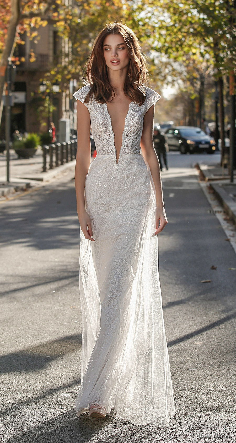 jolie spring 2021 bridal cap sleeves deep plunging v neck full embellishment sexy romantic modified a  line wedding dress open low back sweep train (4) mv