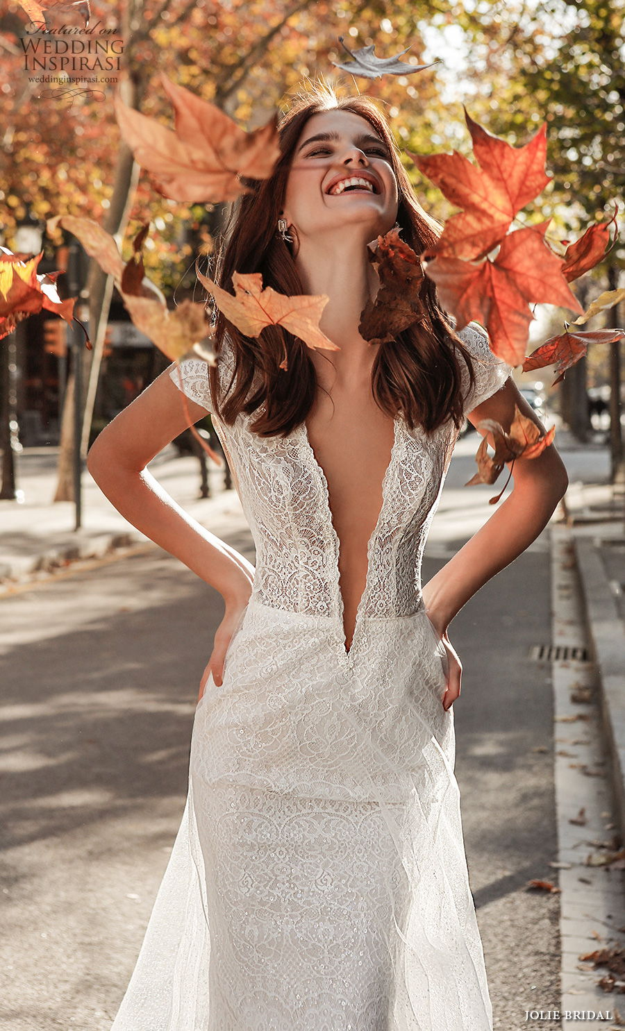 jolie spring 2021 bridal cap sleeves deep plunging v neck full embellishment sexy romantic modified a  line wedding dress open low back sweep train (4) zv