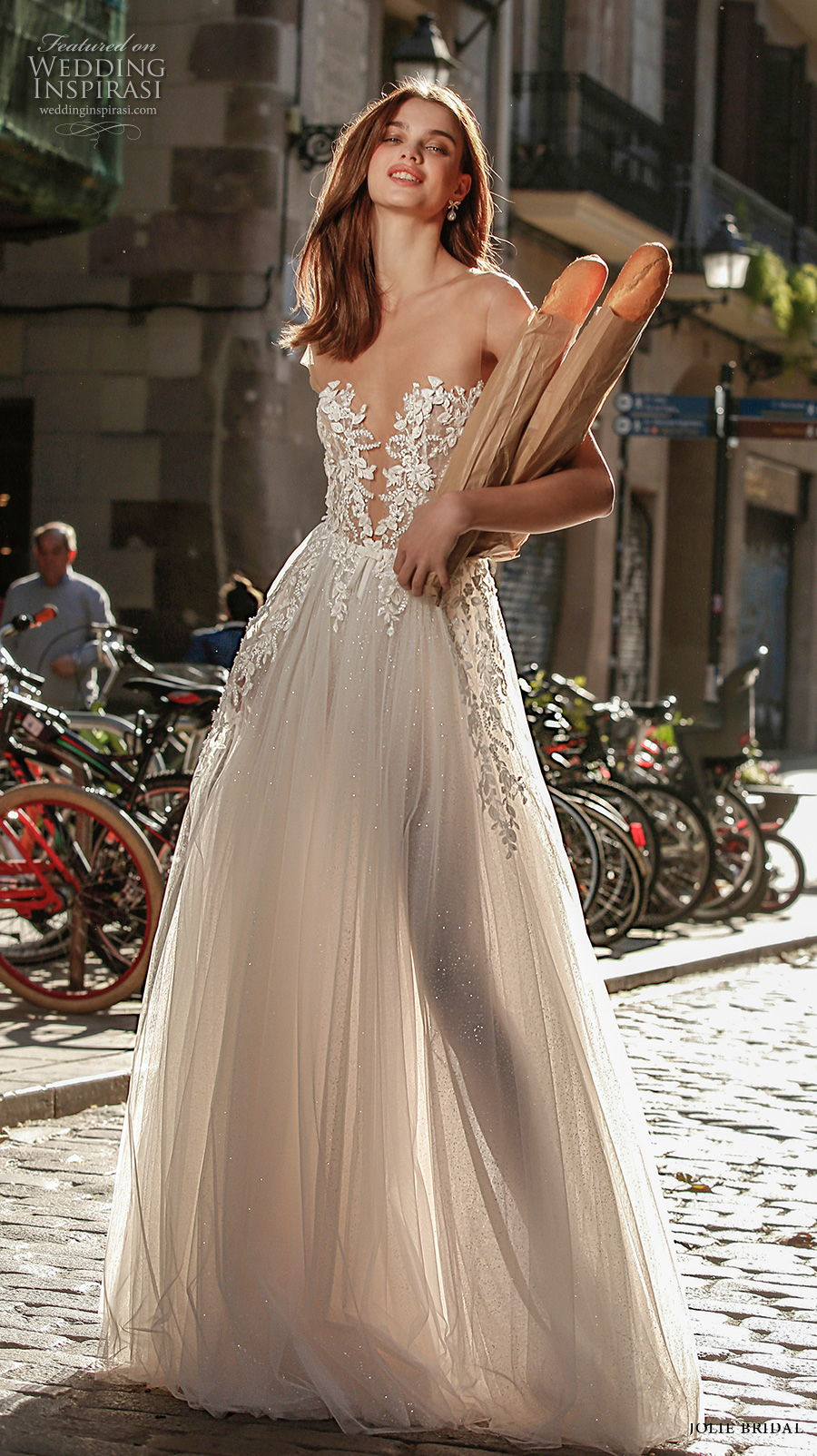 jolie spring 2021 bridal cap sleeves illusion bateau deep plunging sweetheart neckline heavily embellised bodice romantic sexy soft a  line wedding dress backless v back sweep train (1) mv