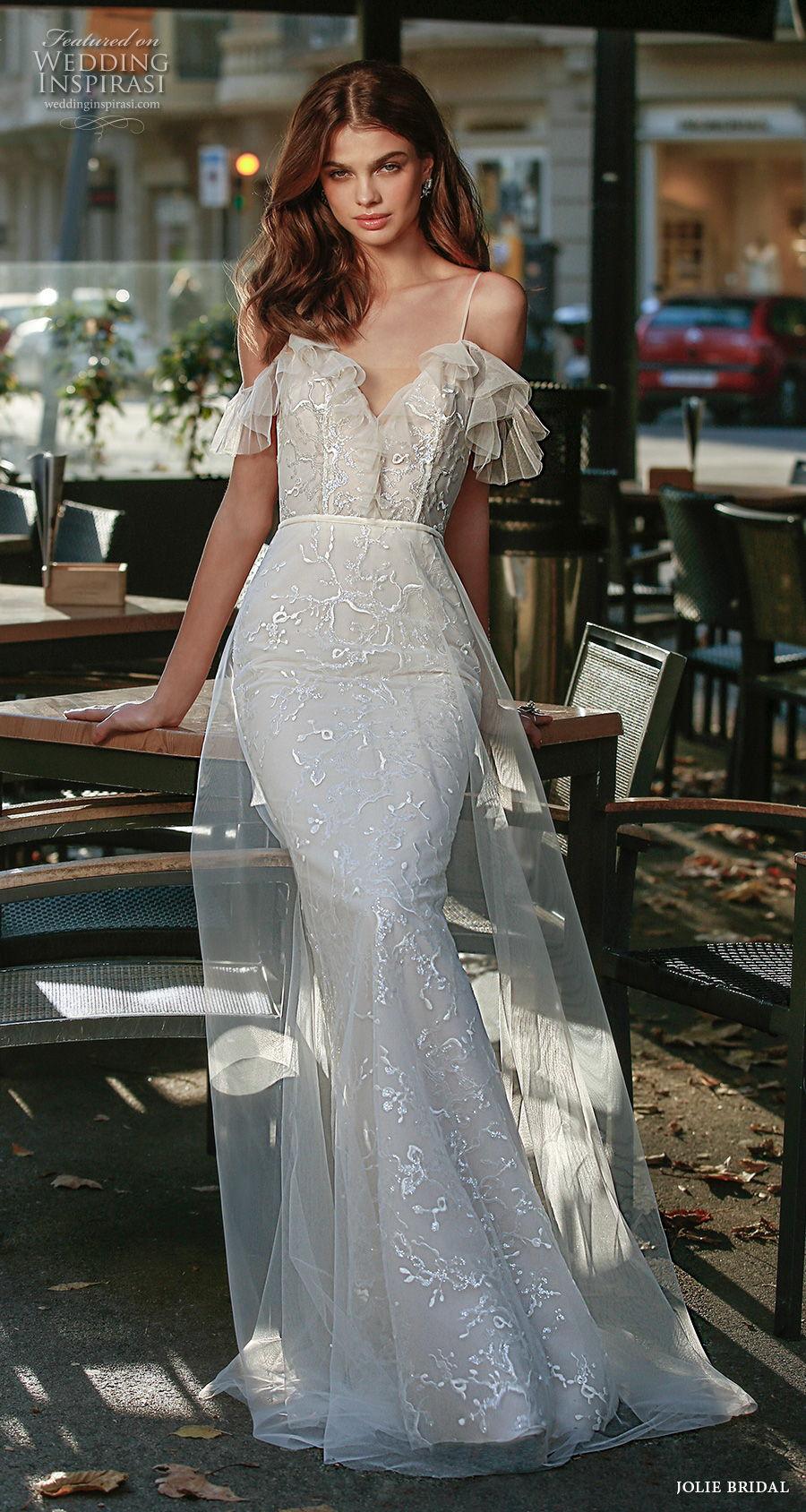 jolie spring 2021 bridal cold shoulder spaghetti strap dimaond neck full embellishment romantic mermaid wedding dress a  line overskirt backless v back sweep train (13) mv