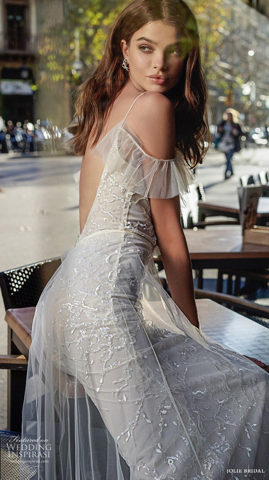 jolie spring 2021 bridal cold shoulder spaghetti strap dimaond neck full embellishment romantic mermaid wedding dress a  line overskirt backless v back sweep train (13) zbv