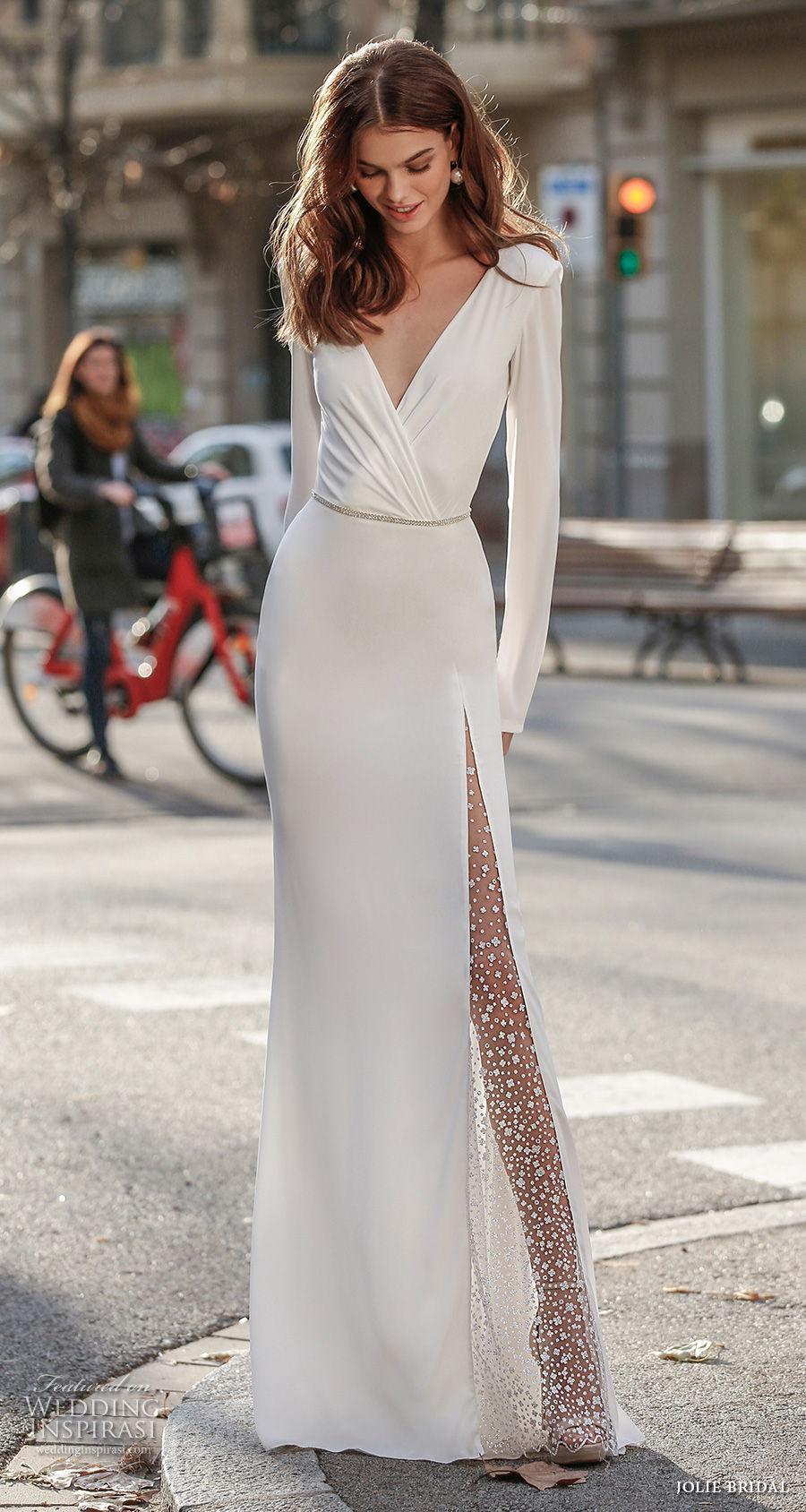jolie spring 2021 bridal long sleeves deep v neck wrap over bodice simple minimalist slit skirt elegant sheath wedding dress v back sweep train (11) mv