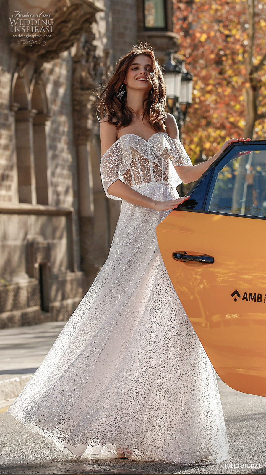 jolie spring 2021 bridal off the shoulder sweetheart neckling full embellishment glitter romantic a  line wedding dress backless sweep train (5) mv