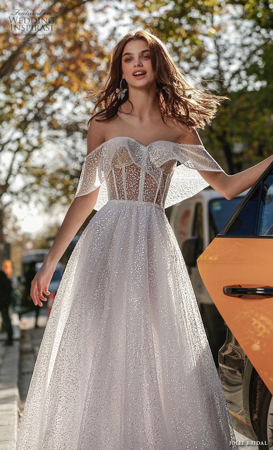 jolie spring 2021 bridal off the shoulder sweetheart neckling full embellishment glitter romantic a  line wedding dress backless sweep train (5) zv