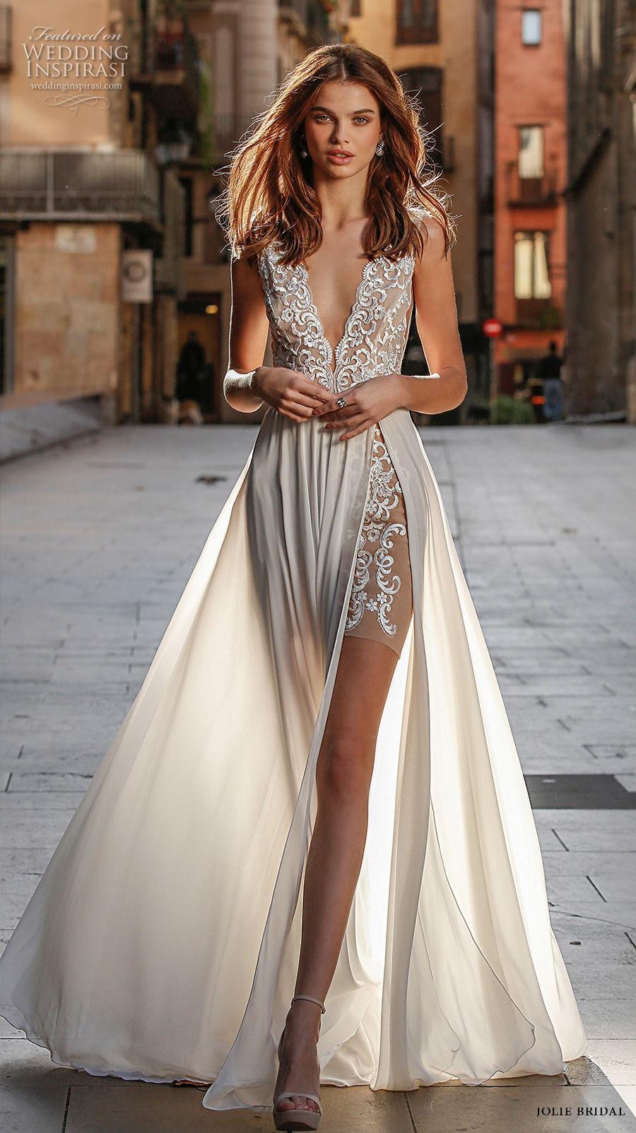 jolie spring 2021 bridal sleeveless deep v neck heavily embellished bodice slit skirt romantic sexy a  line wedding dress (2) mv