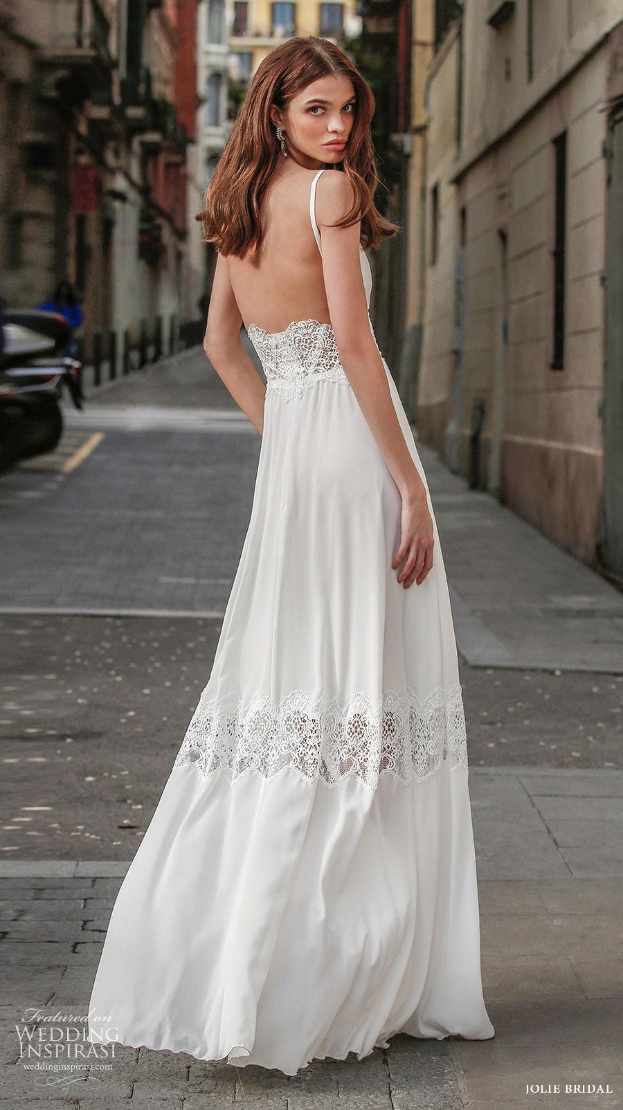 jolie spring 2021 bridal sleeveless deep v neck simple romantic bohemian modified a  line wedding dress backless sweep train (8) bv