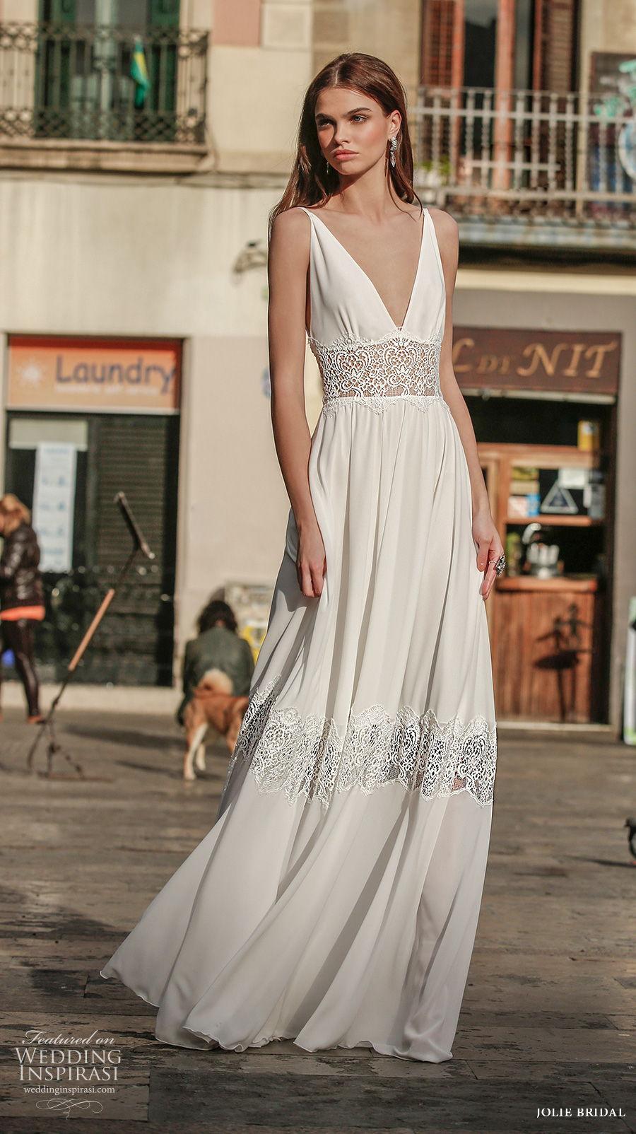 jolie spring 2021 bridal sleeveless deep v neck simple romantic bohemian modified a  line wedding dress backless sweep train (8) mv