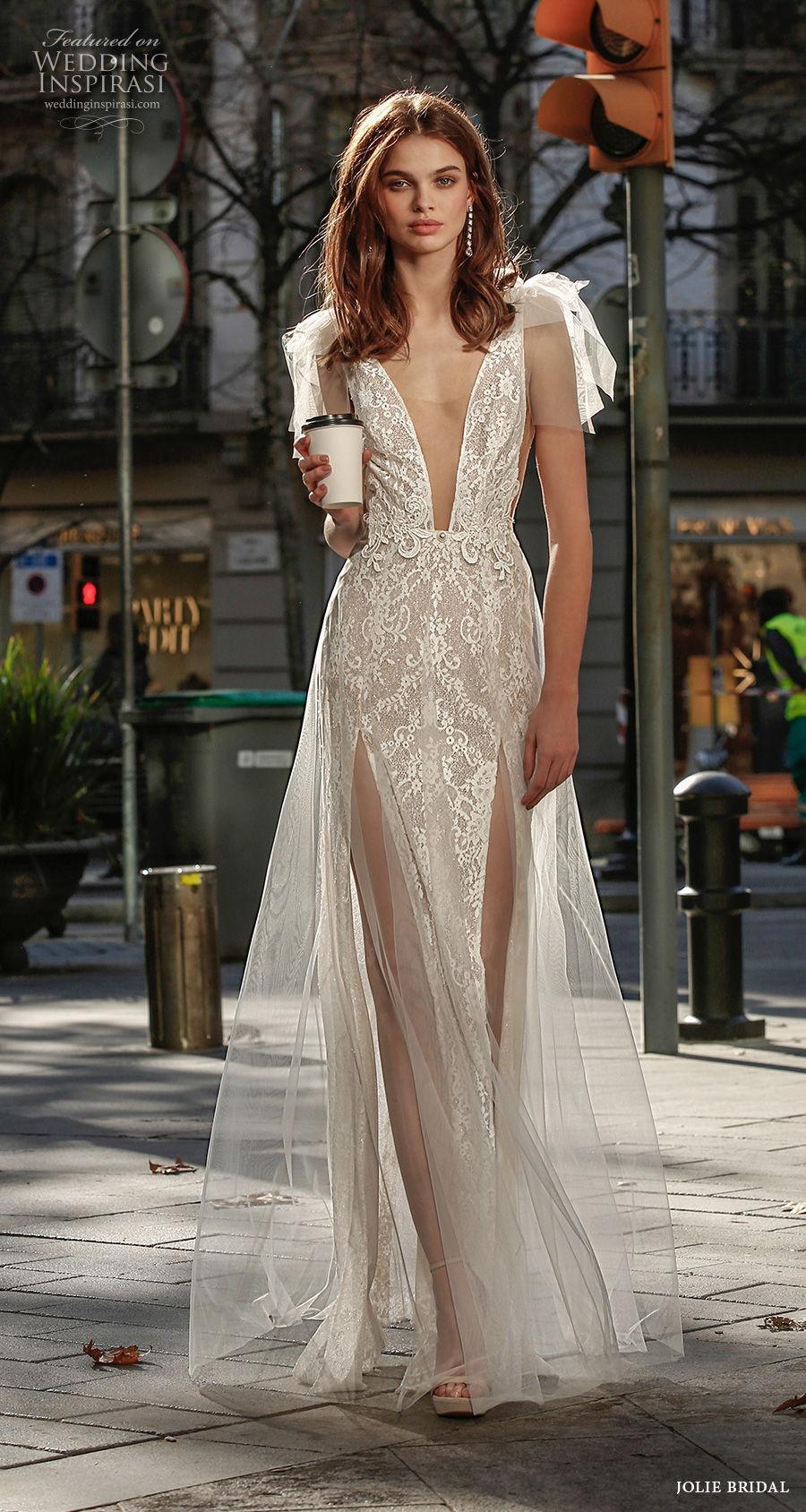 jolie spring 2021 bridal sleeveless ribbon strap deep plunging v neck full embellishment double slit sexy romantic sheath wedding dress a  line overskirt backless sweep train (14) mv