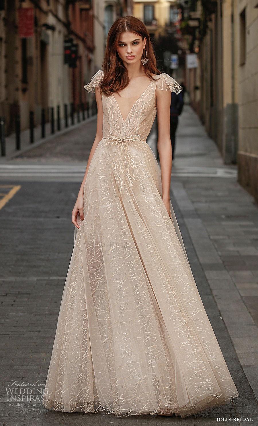 jolie spring 2021 bridal sleeveless ribbon strap v neck full embellishment romantic champagne a  line wedding dress backless v back sweep train (17) mv