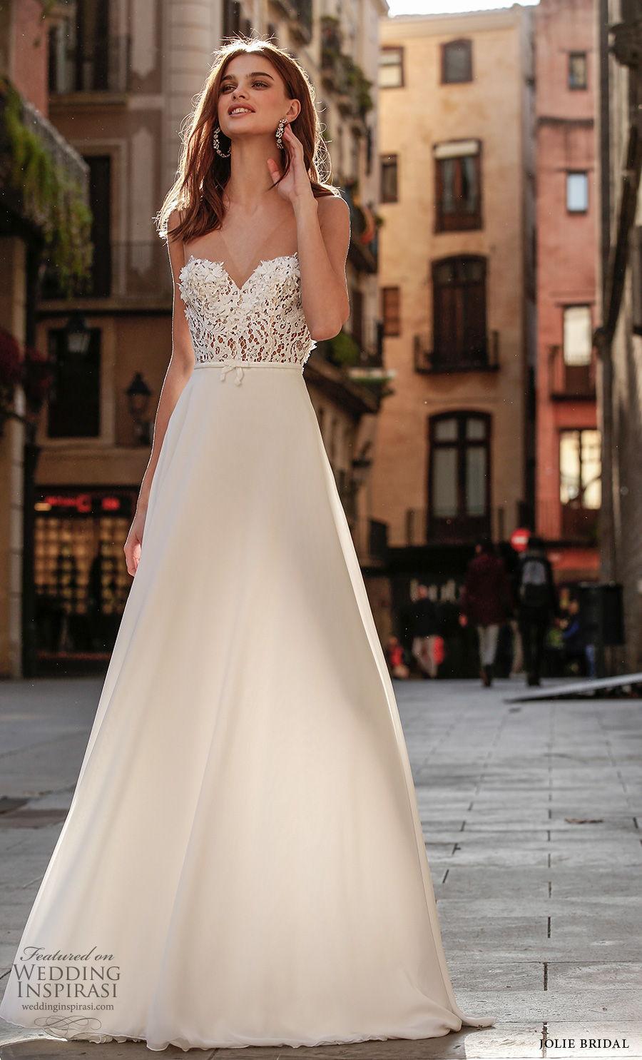 jolie spring 2021 bridal sleeveless sheer strap sweetheart neckline heavily embellished bodice romantic a  line wedding dress sweep train (21) mv