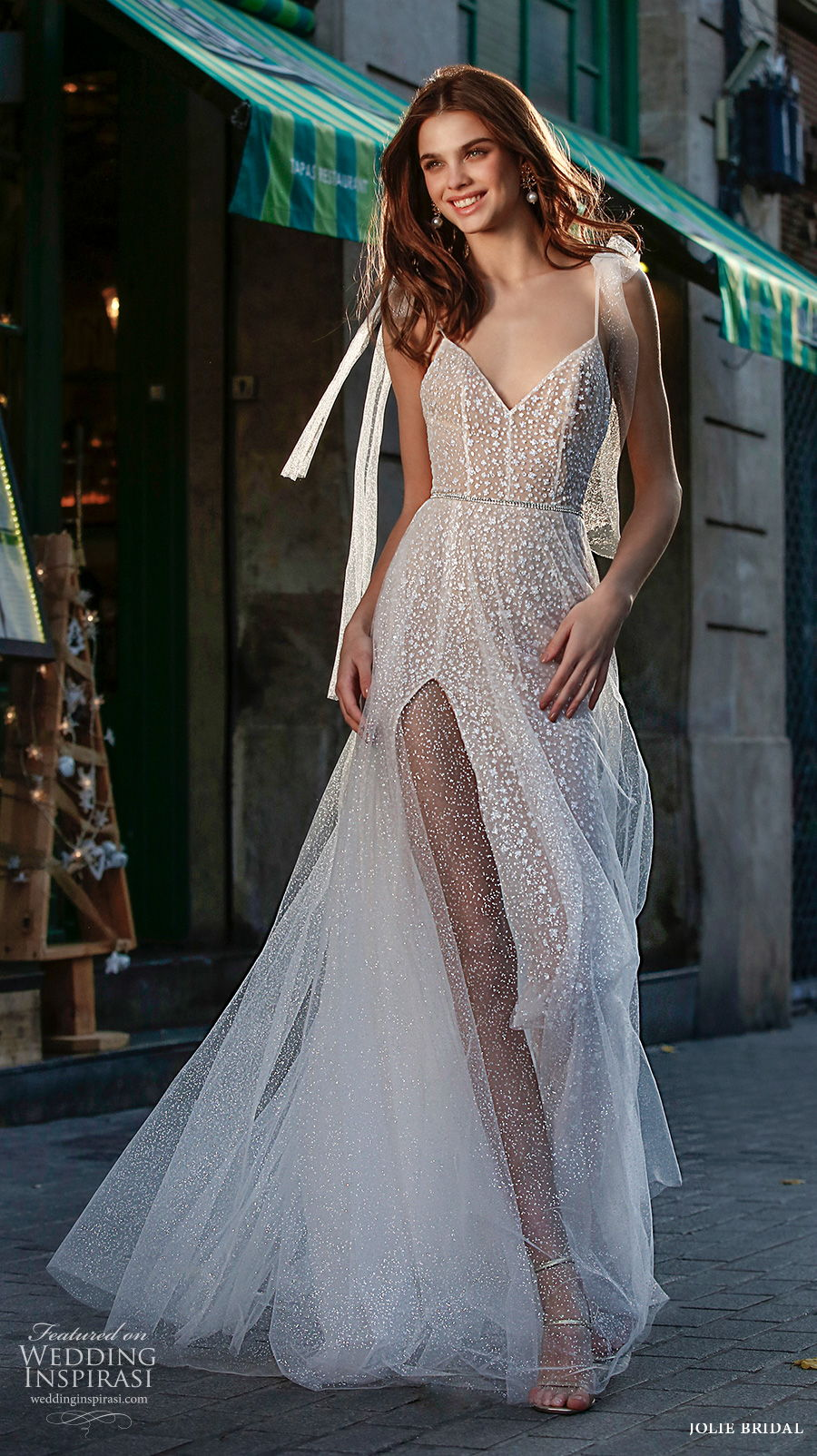 jolie spring 2021 bridal sleeveless spaghetti ribbon strap diamond neckline full embellishment slit skirt romantic a  line wedding dress sweep train (18) mv