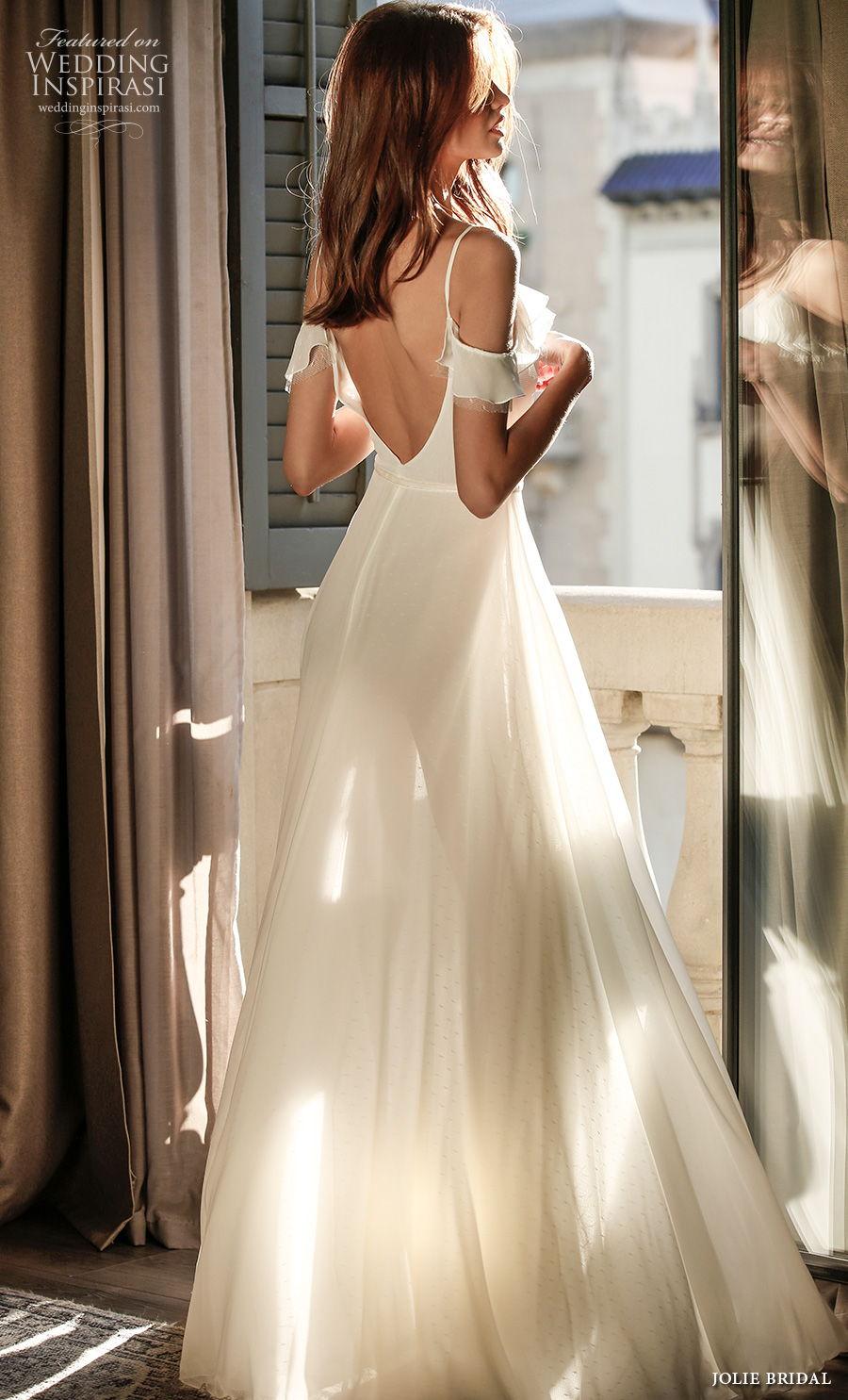 jolie spring 2021 bridal sleeveless spaghetti strap cold shoulder v neck simple slit skirt sexy a  line wedding dress backless v back sweep train (9) bv