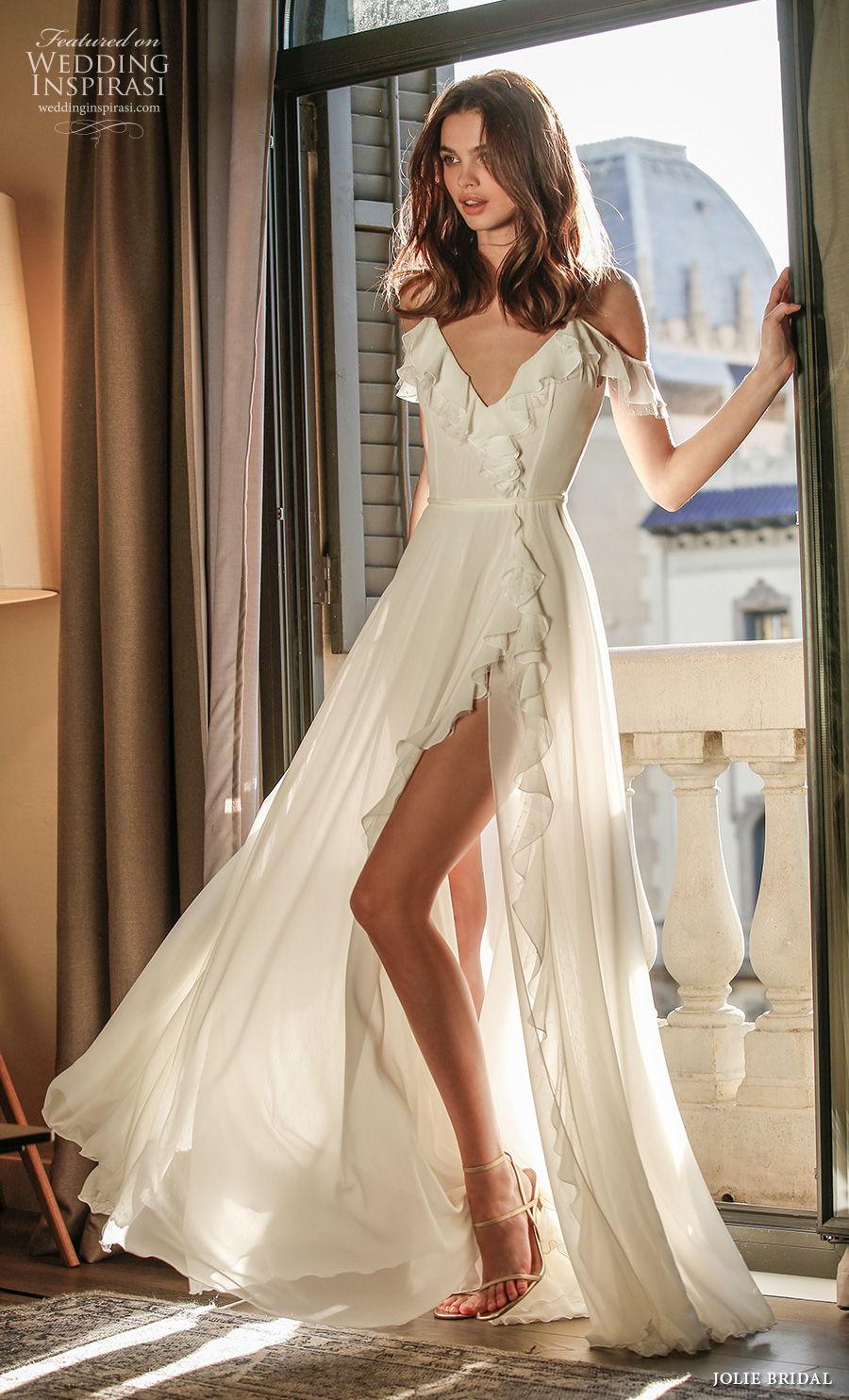 jolie spring 2021 bridal sleeveless spaghetti strap cold shoulder v neck simple slit skirt sexy a  line wedding dress backless v back sweep train (9) mv