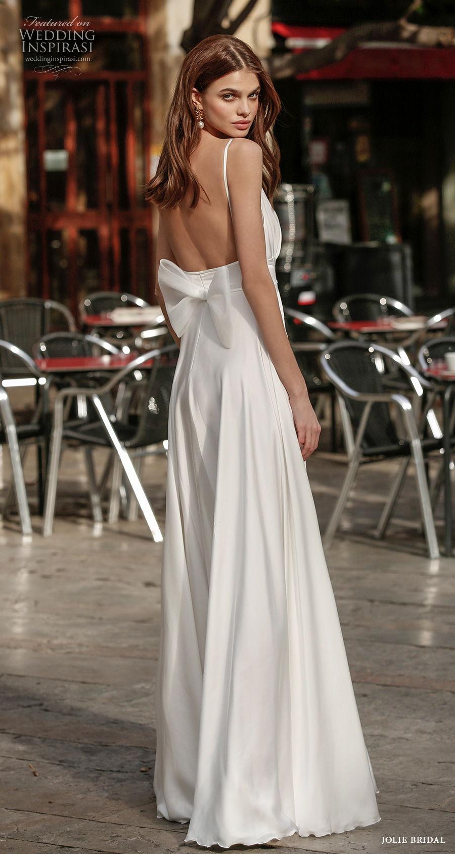jolie spring 2021 bridal sleeveless spaghetti strap deep v neck glamorous simple double slit skirt a  line wedding dress square back sweep train (15) bv