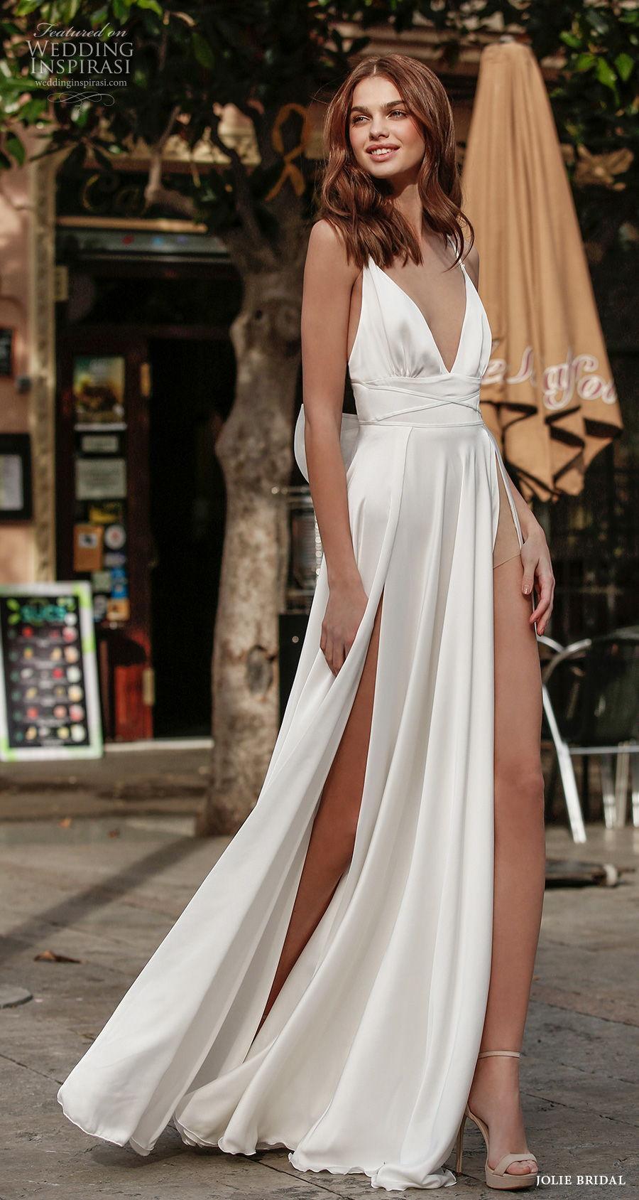 jolie spring 2021 bridal sleeveless spaghetti strap deep v neck glamorous simple double slit skirt a  line wedding dress square back sweep train (15) mv
