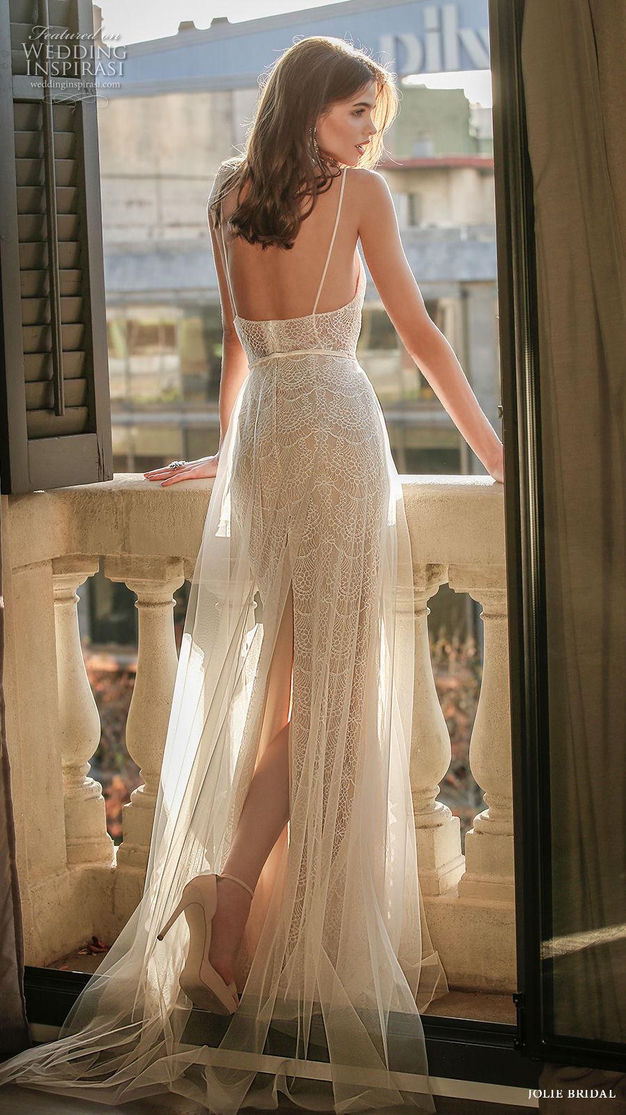 jolie spring 2021 bridal sleeveless spaghetti strap diamond neckline full embellishment sexy romantic modified a  line wedding dress backless sweep train (3) bv