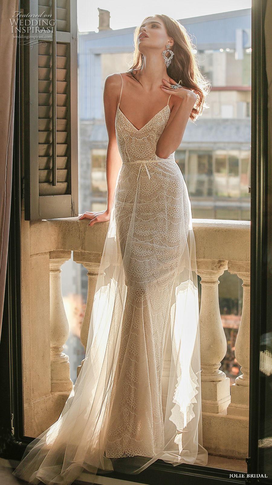 jolie spring 2021 bridal sleeveless spaghetti strap diamond neckline full embellishment sexy romantic modified a  line wedding dress backless sweep train (3) mv