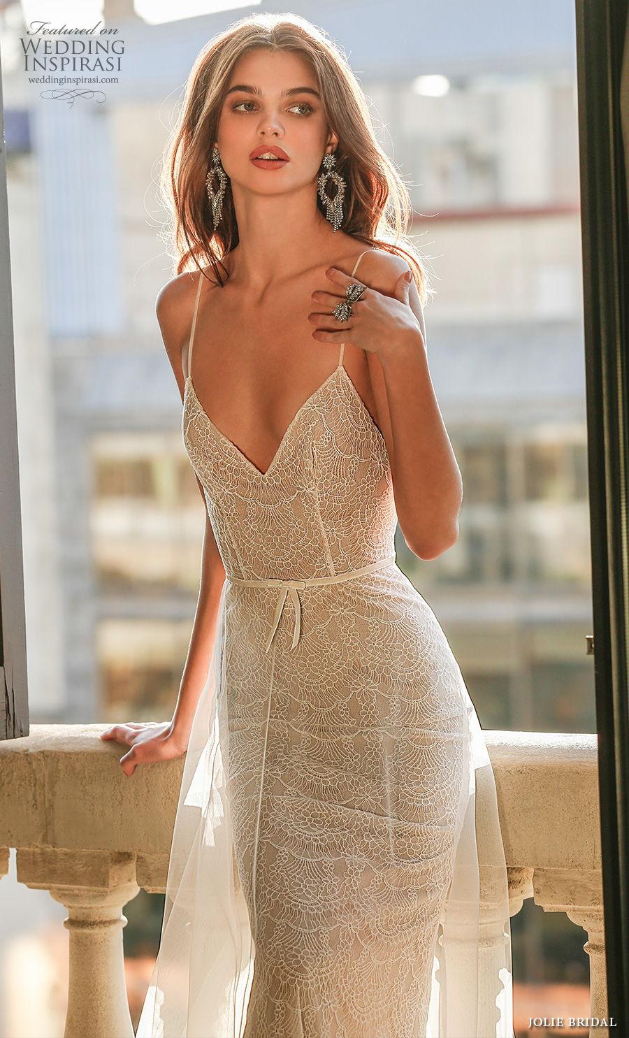 jolie spring 2021 bridal sleeveless spaghetti strap diamond neckline full embellishment sexy romantic modified a  line wedding dress backless sweep train (3) zv