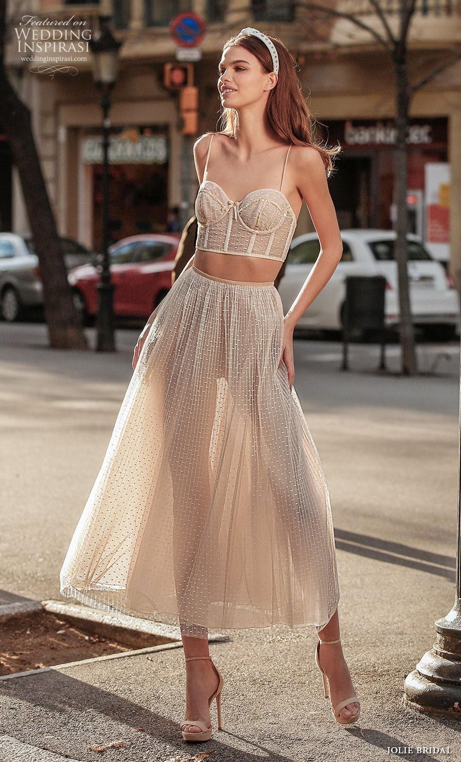 jolie spring 2021 bridal sleeveless spaghetti strap sweetheart neckline bustier crop top 2 piece romantic tea ivory length short wedding dress (7) mv