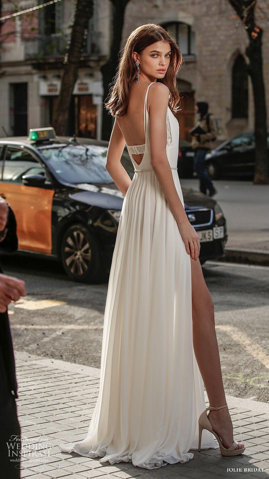 jolie spring 2021 bridal sleeveless spaghetti strap v neck simple double slit skirt sexy modern a  line wedding dress backless scoop back sweep train (19) bv