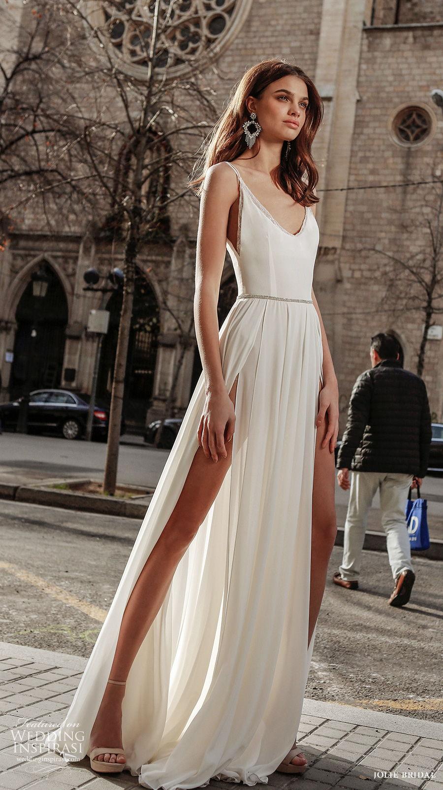 jolie spring 2021 bridal sleeveless spaghetti strap v neck simple double slit skirt sexy modern a  line wedding dress backless scoop back sweep train (19) mv