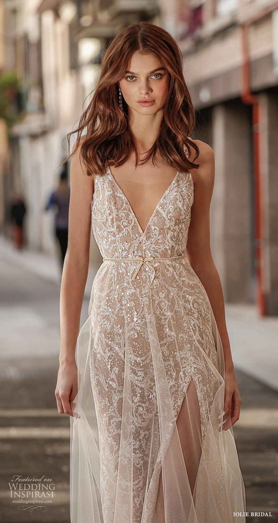 jolie spring 2021 bridal sleeveless thin strap deep v neck full embellishment slit skirt glamorous a  line modified wedding dress open low back sweep train (16) zv