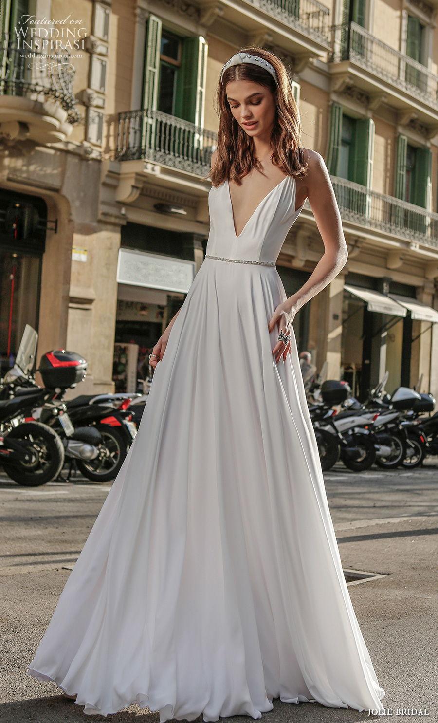 jolie spring 2021 bridal sleeveless thin strap deep v neck simple minimalist sexy a  line wedding dress backless scoop back sweep train (6) mv