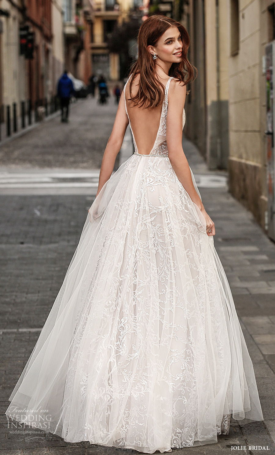 jolie spring 2021 bridal sleeveless with strap deep plunging v neck full embellishment sexy romantic a  line wedding dress backless v back sweep train (12) bv