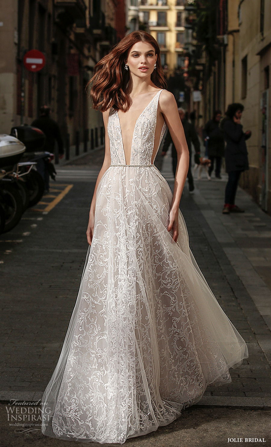 jolie spring 2021 bridal sleeveless with strap deep plunging v neck full embellishment sexy romantic a  line wedding dress backless v back sweep train (12) mv