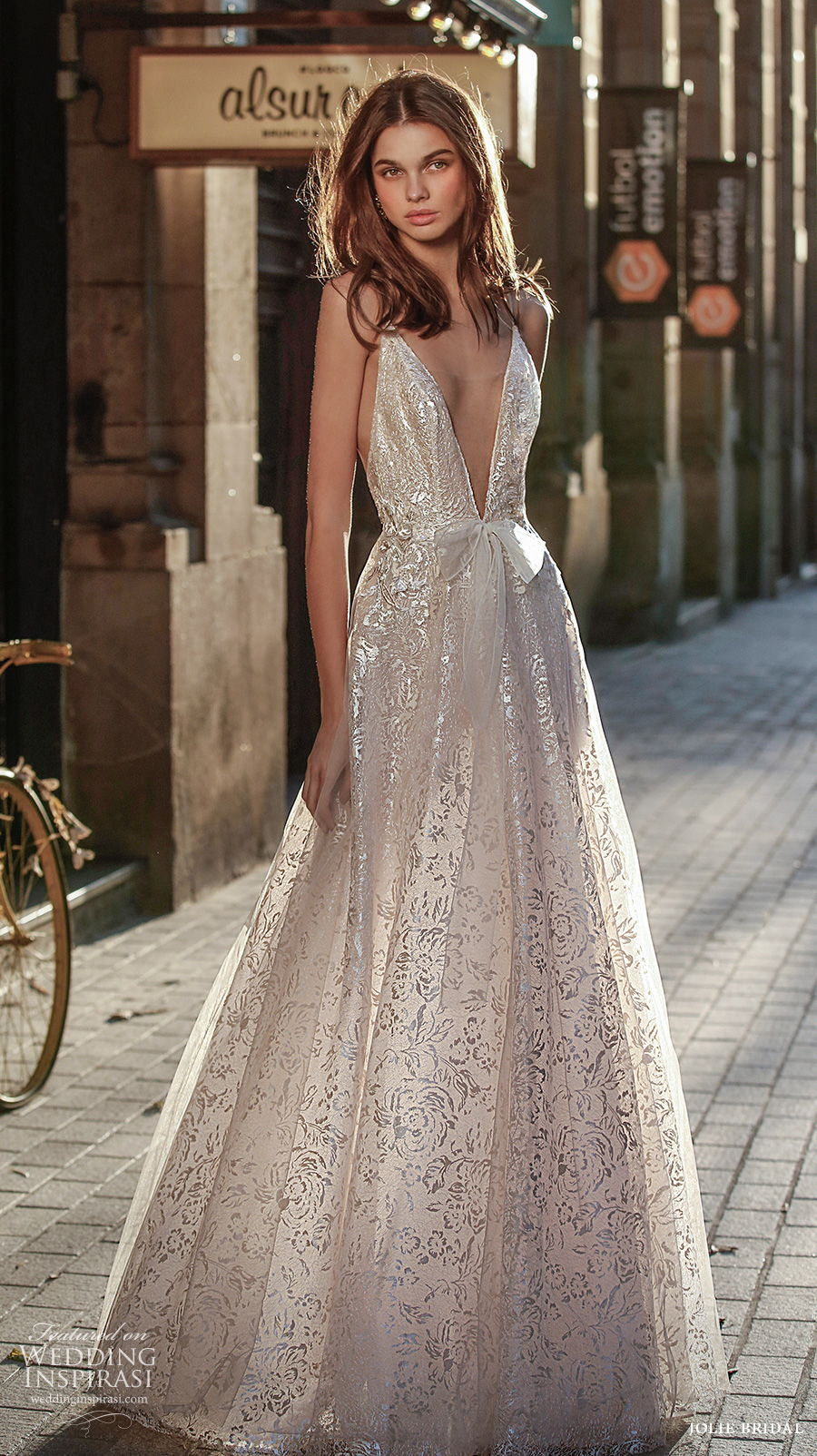 jolie spring 2021 bridal sleeveless with strap deep v neck full embellishment sexy romantic a  line dress backless sweep train (10) mv