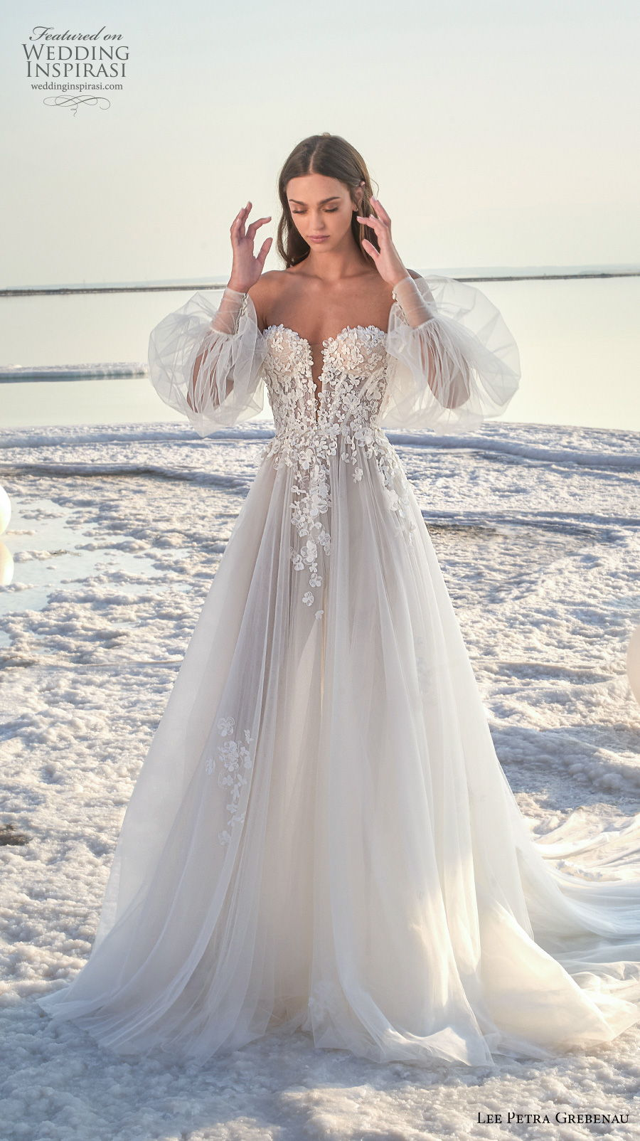 lee petra grebenau 2020 bridal long bishop sleeve off the shoulder sweetheart neckline heavily embellished bodice romantic a  line wedding dress mid back chapel train (4) mv