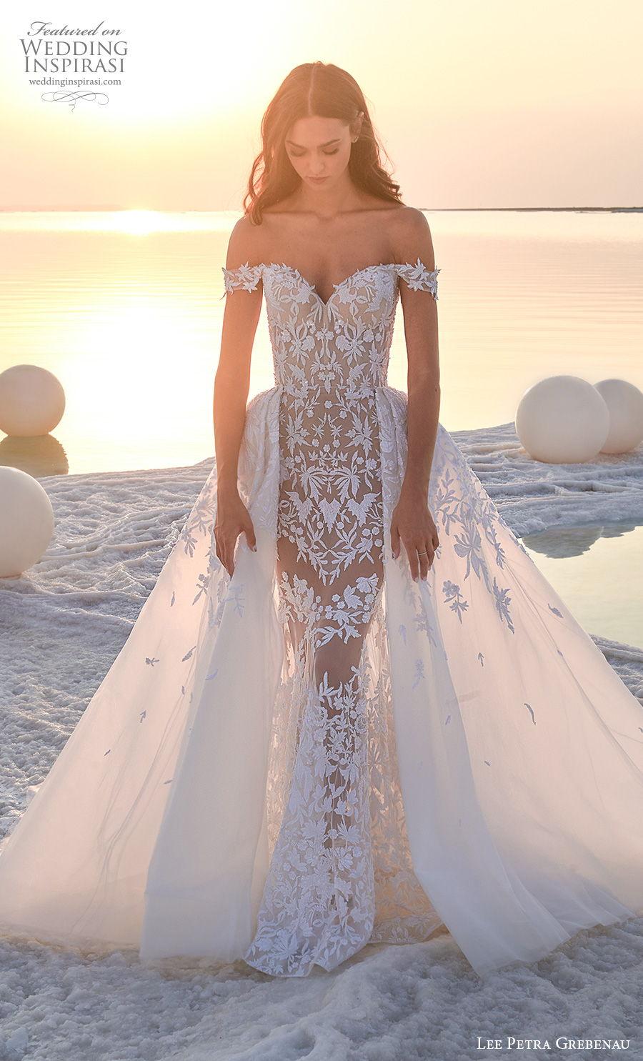lee petra grebenau 2020 bridal off the shoulder sweetheart neckline full embellishment romantic glamorous sheath wedding dress a line overskirt chapel train (1) mv