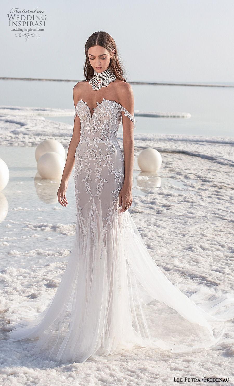 lee petra grebenau 2020 bridal off the shoulder sweetheart neckline heavily embellished bodice romantic fit and flare wedding dress mid back chapel train (6) mv