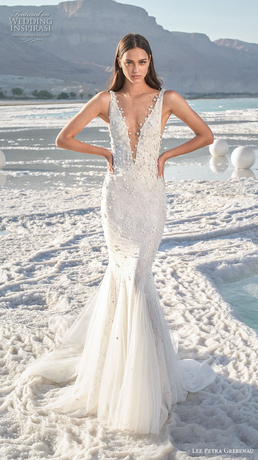 lee petra grebenau 2020 bridal sleeveless deep plunging v neck heavily embellished bodice romantic mermaid wedding dress backless v back chapel train (3) mv