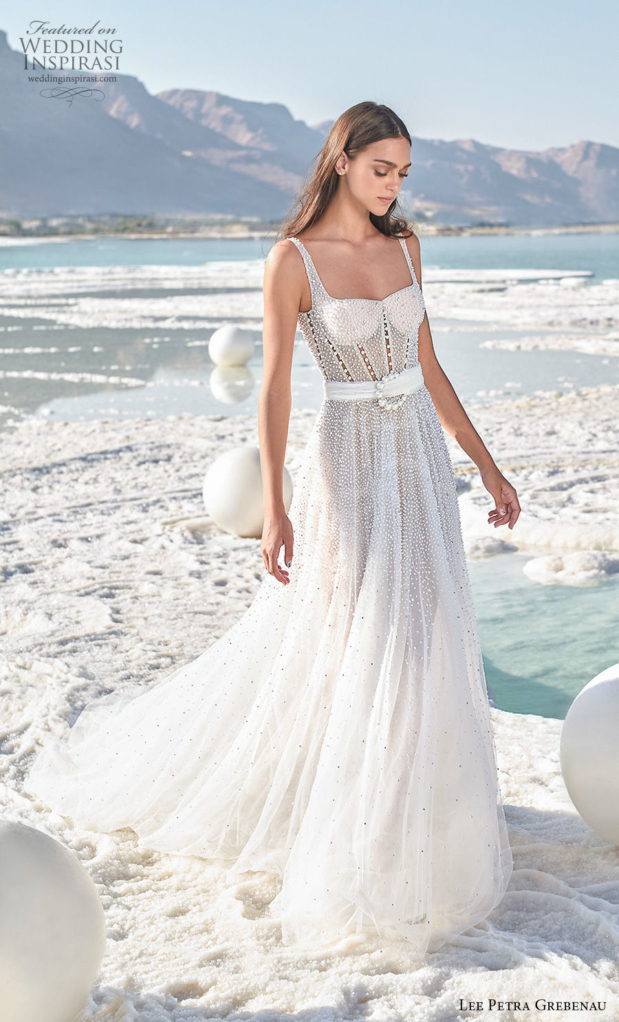 lee petra grebenau 2020 bridal sleeveless with strap square neckline full embellishment bustier romantic sexy a  line wedding dress backless v back chapel train (8) mv