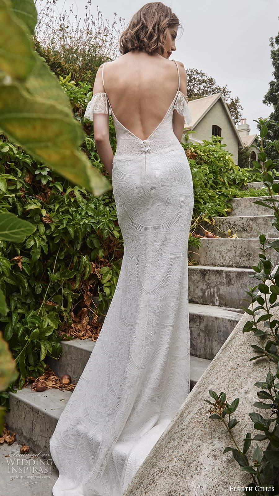 elbeth gillis 2021 bridal cold shoulder straps v sweetheart neckline embellished lace sheath wedding dress v back sweep train (16) bv