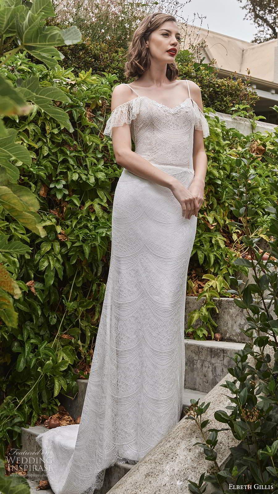 elbeth gillis 2021 bridal cold shoulder straps v sweetheart neckline embellished lace sheath wedding dress v back sweep train (16) mv