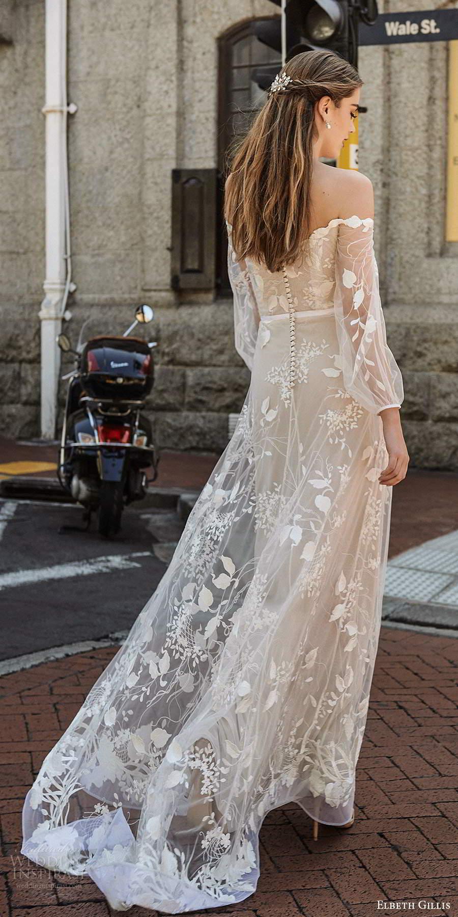 elbeth gillis 2021 bridal illusion bishop sleeves off shoulder neckline fully embellished a line ball gown wedding dress chapel train (8) bv