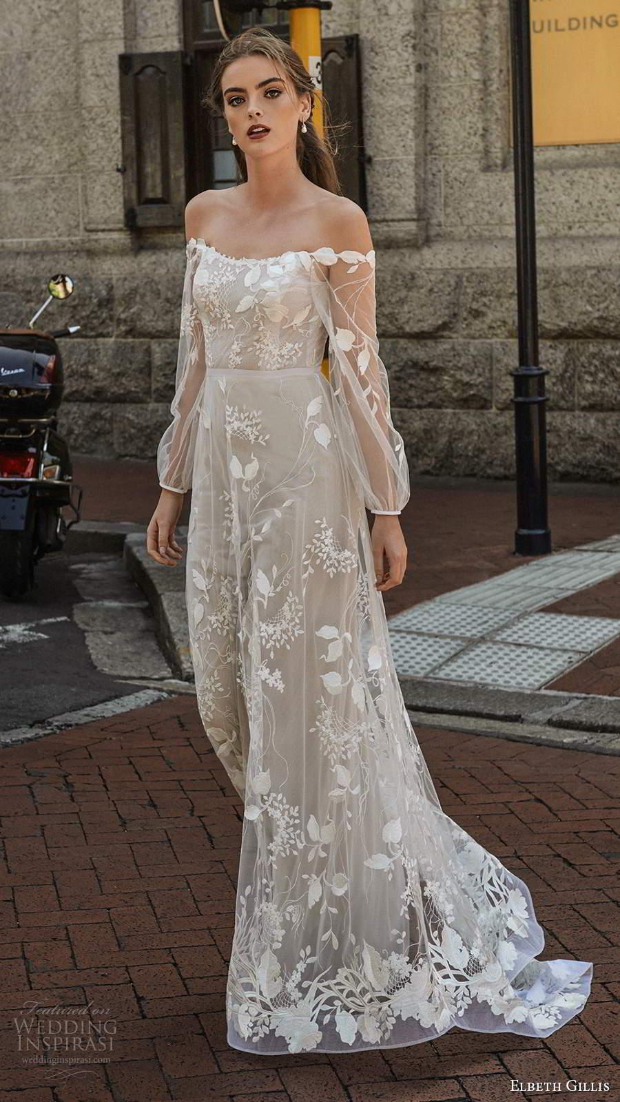 elbeth gillis 2021 bridal illusion bishop sleeves off shoulder neckline fully embellished a line ball gown wedding dress chapel train (8) mv