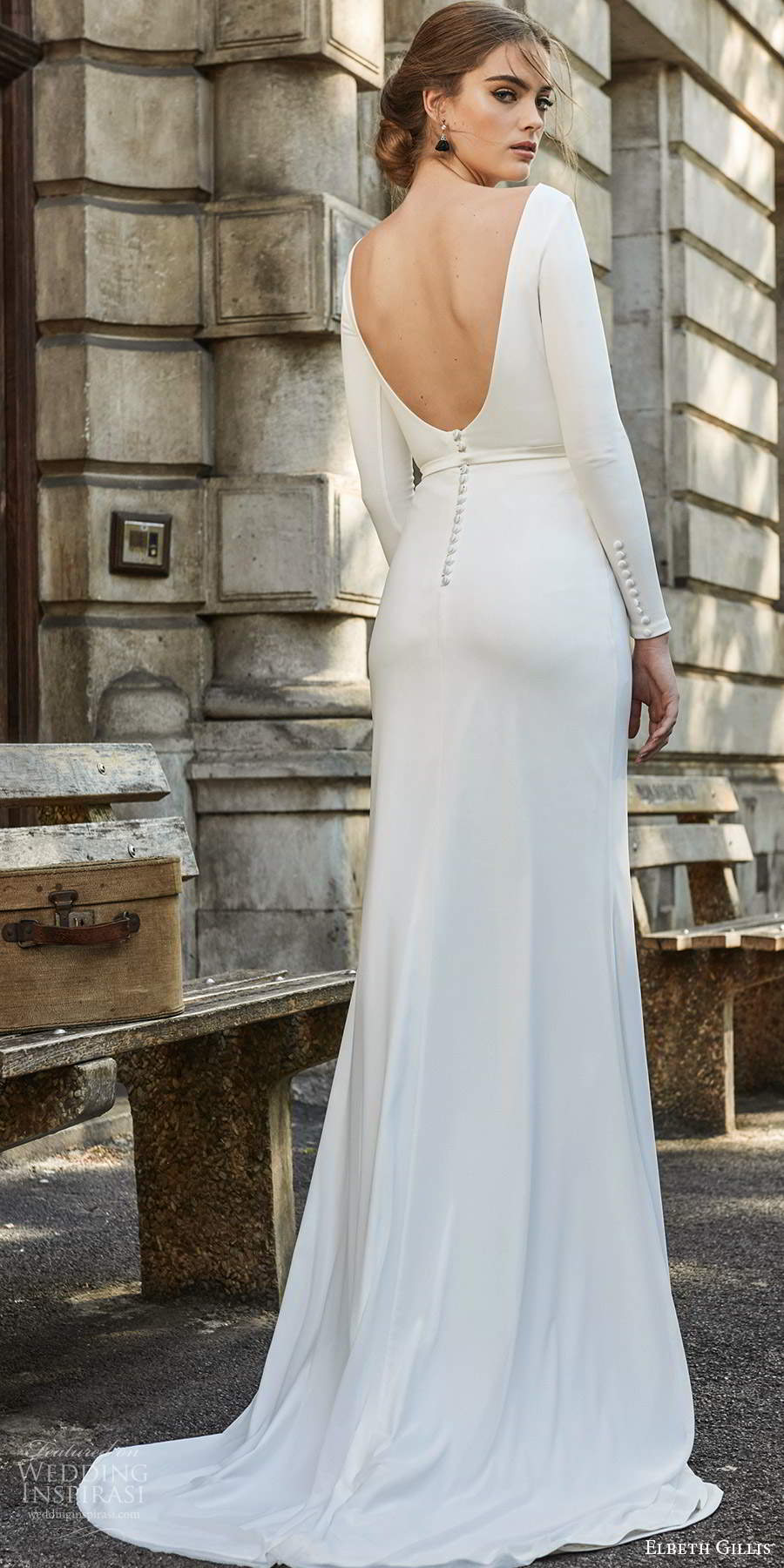 elbeth gillis 2021 bridal long sleeves bateau neckline clean minimalist sheath wedding dress scoop back sweep train (1) bv