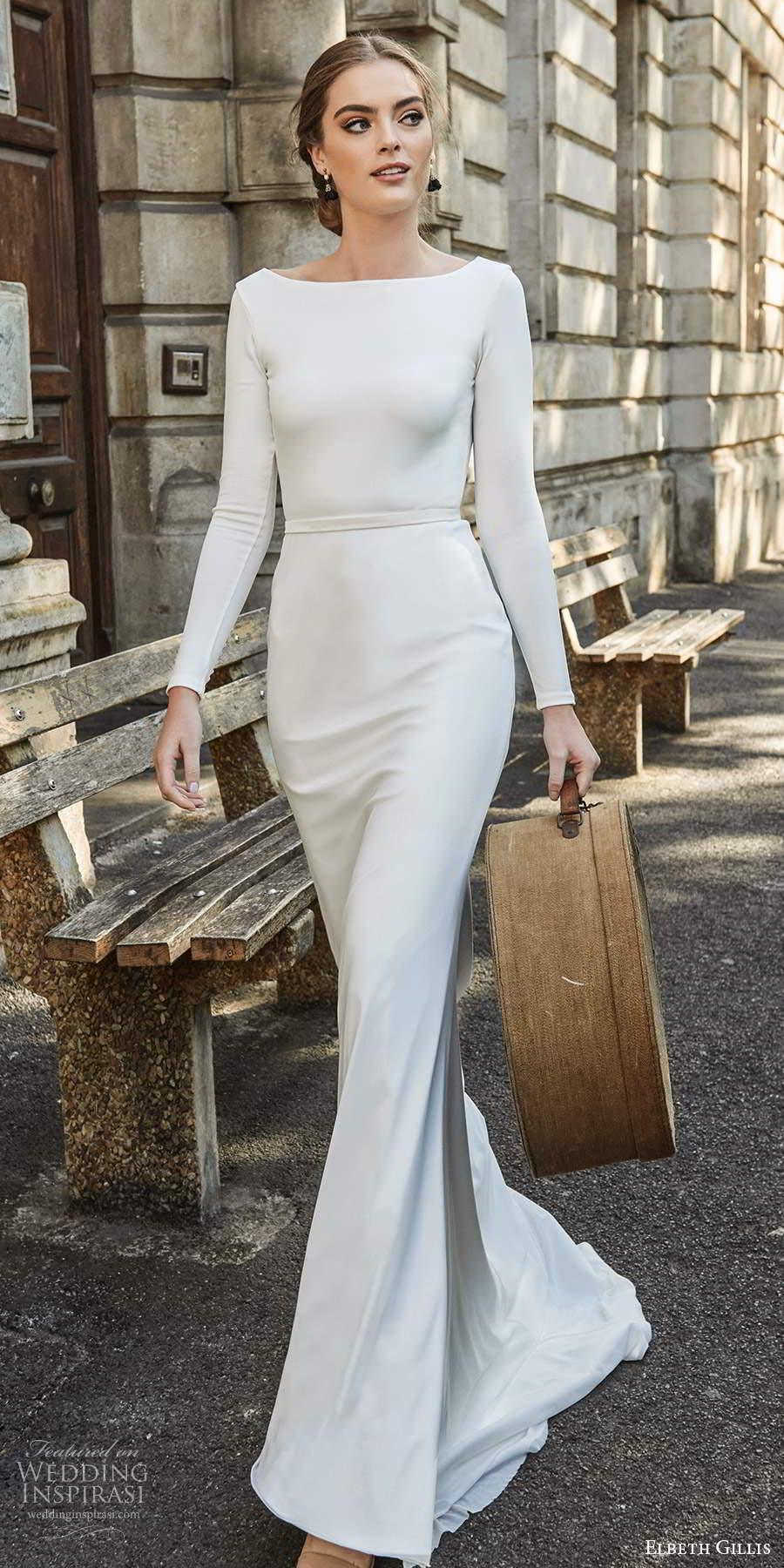 elbeth gillis 2021 bridal long sleeves bateau neckline clean minimalist sheath wedding dress scoop back sweep train (1) mv