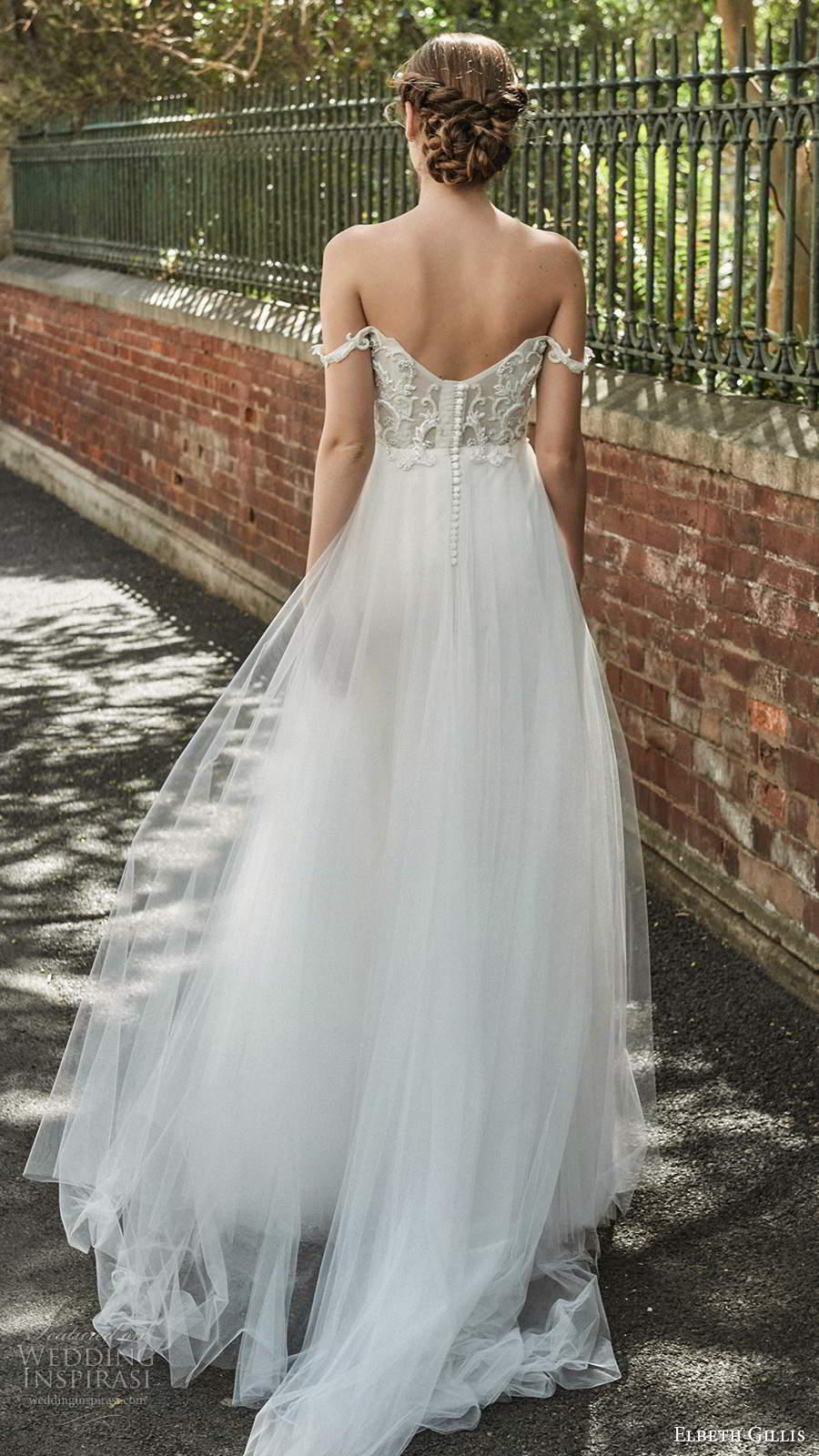 elbeth gillis 2021 bridal off shoulder straps v sweetheart neckline embellished lace bodice a line ball gown wedding dress chapel train (5) bv