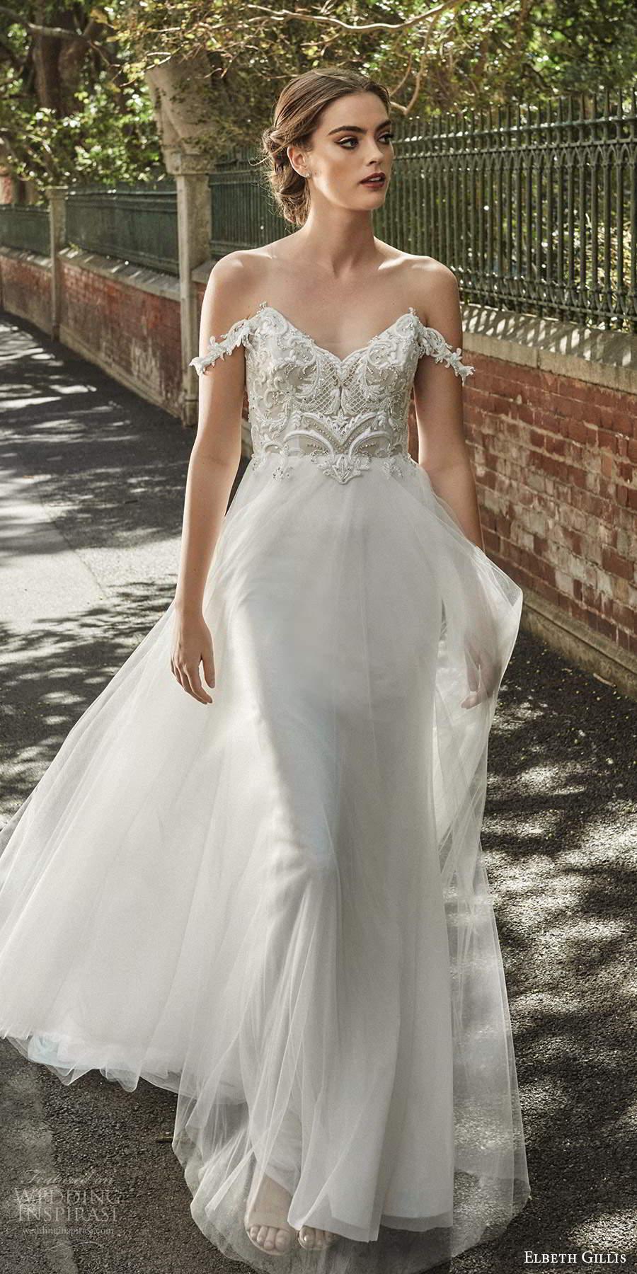 elbeth gillis 2021 bridal off shoulder straps v sweetheart neckline embellished lace bodice a line ball gown wedding dress chapel train (5) mv