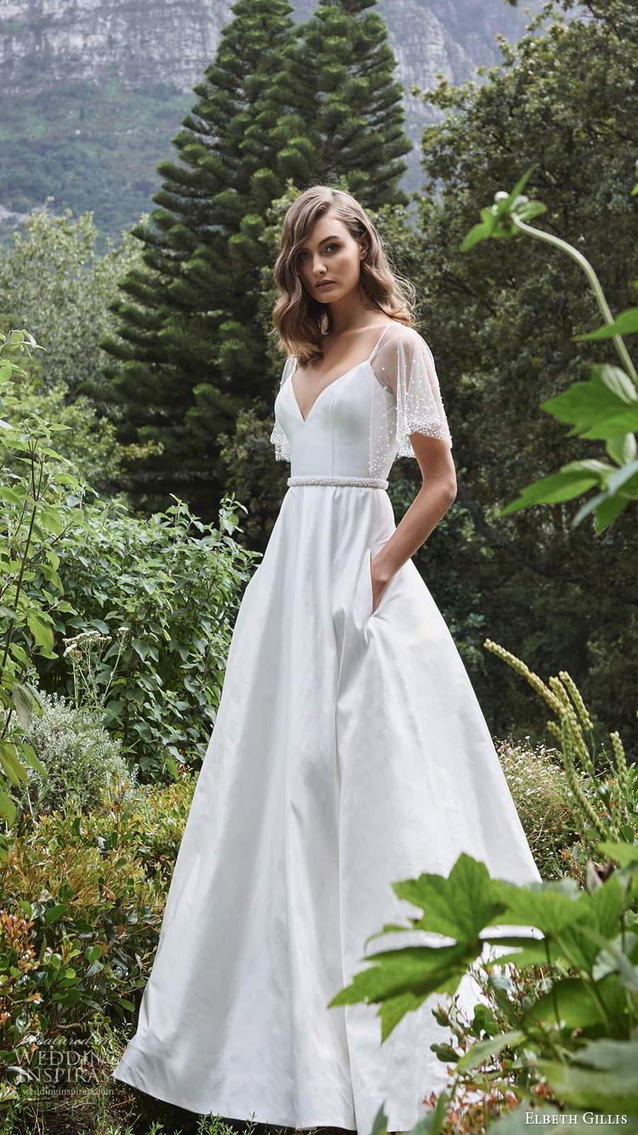 elbeth gillis 2021 bridal sheer flutter sleeves sleeveless straps v neckline embellished bodice a line ball gown wedding dress chapel train (12) fv