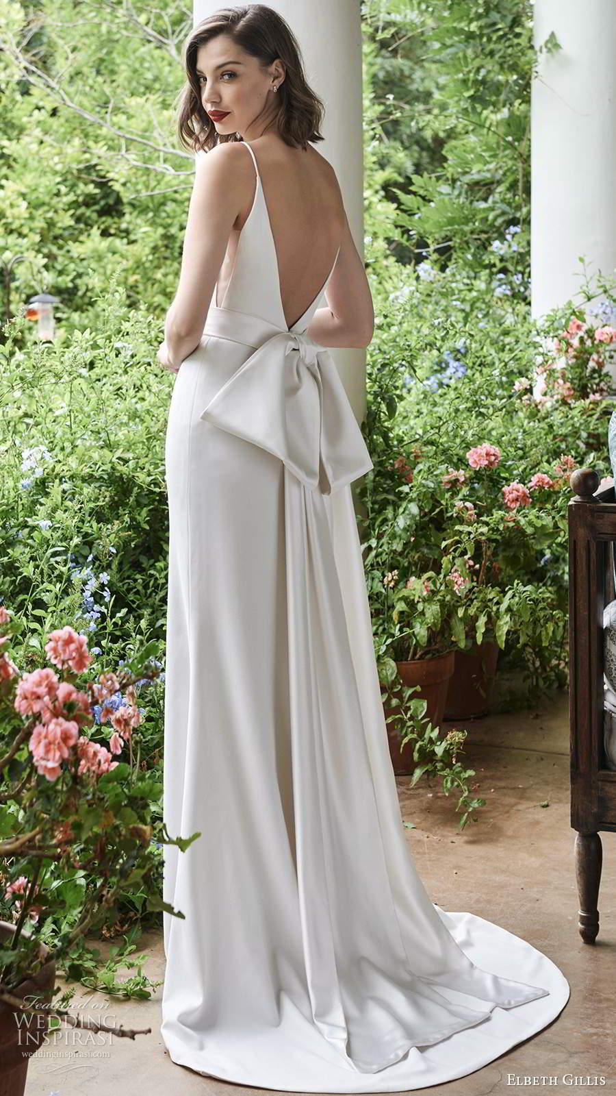elbeth gillis 2021 bridal sleeveless straps clean minimalist sheath wedding dress v back chapel train (15) bv