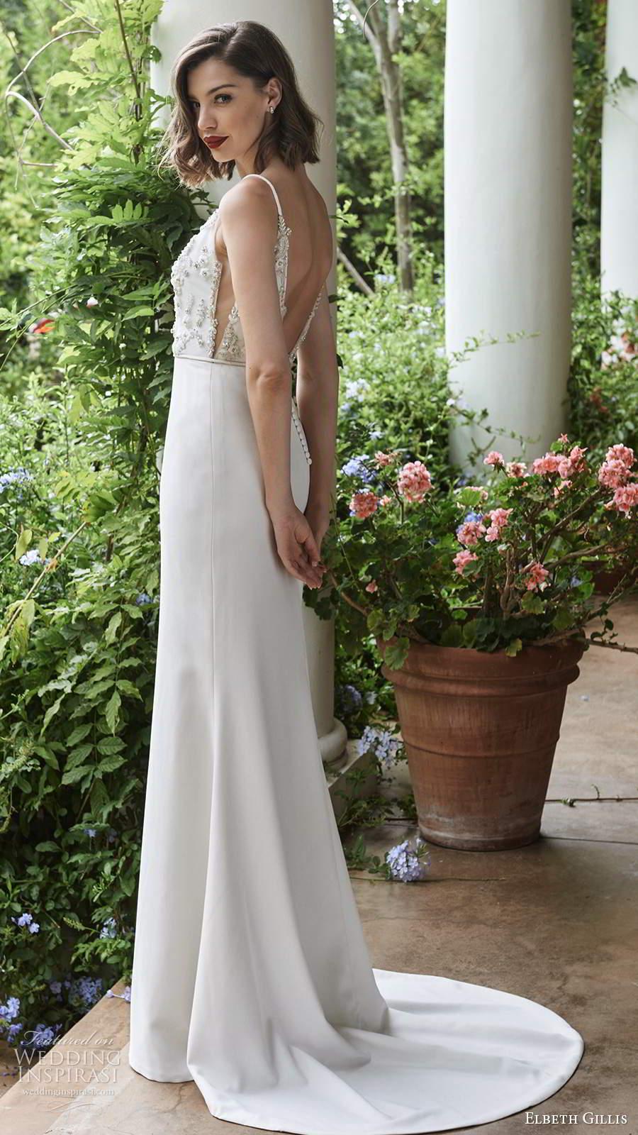 elbeth gillis 2021 bridal sleeveless straps embellished bodice sheath wedding dress v back chapel train (15) bv