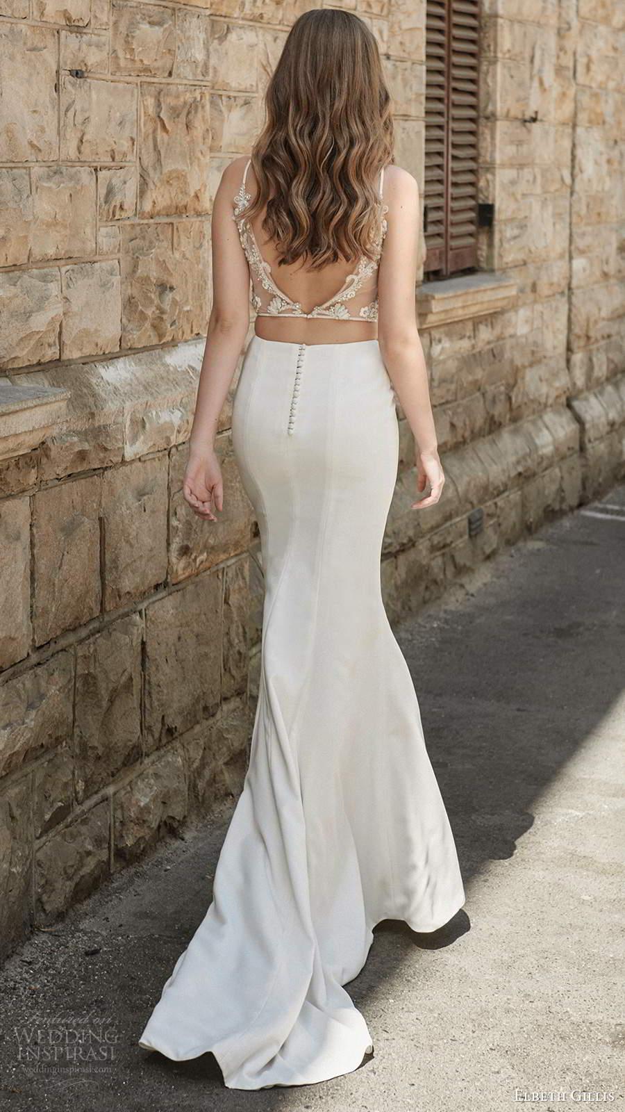 elbeth gillis 2021 bridal sleeveless straps jewel neckline embellished bodice fit flare mermaid two piece wedding dress chapel train (14) bv