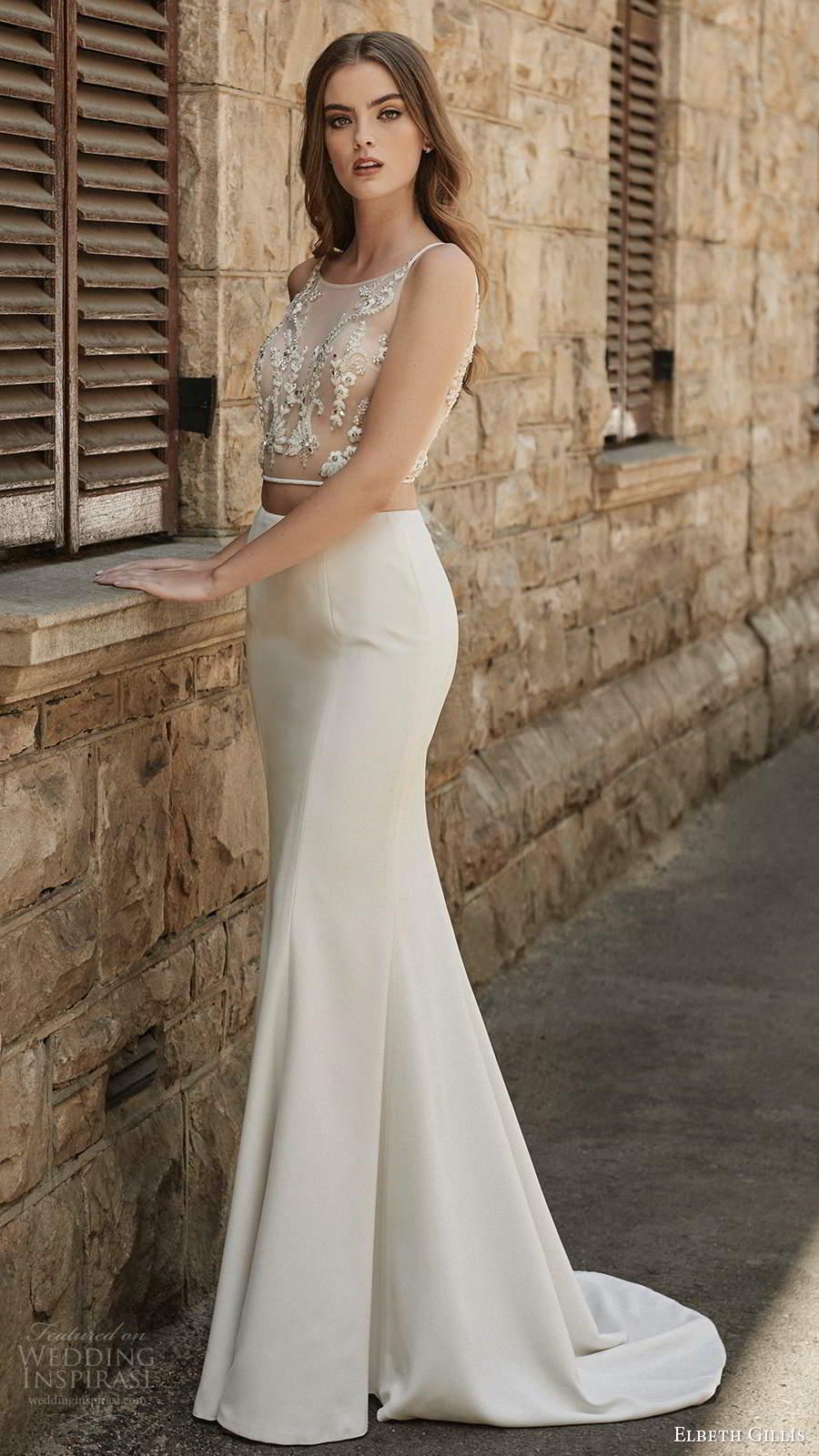 elbeth gillis 2021 bridal sleeveless straps jewel neckline embellished bodice fit flare mermaid two piece wedding dress chapel train (14) mv